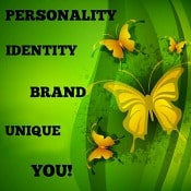 green background with yellow butterflies and Build Your Identity As The First Step To Entrepreneurship