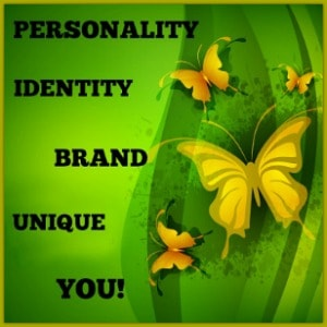 The first step to building your idenity as an entrepreneur as shown on agreen background with yellow butterflies