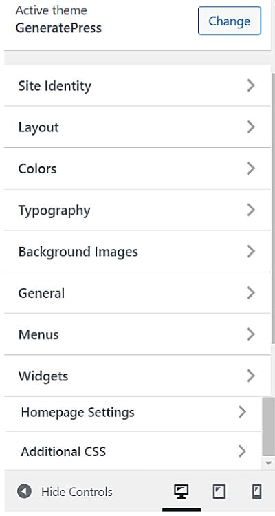 generatepress customize