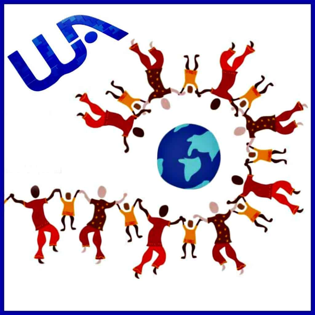 WA logo and people in a community circle