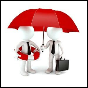 2 little men with a life ring and an umbrella in red, safety
