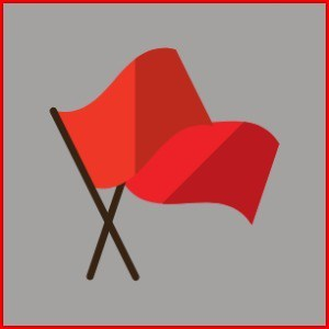 red flags on a grey background