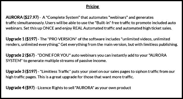 price list of aurora program to join