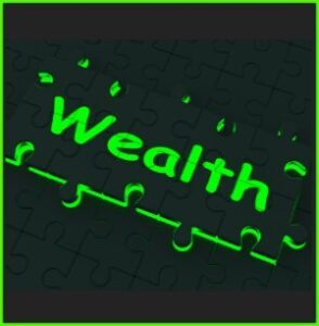 word wealth in neon green on black