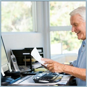 a senior citizen on the computer