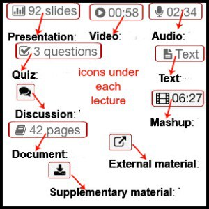 diagram of icons under each Udemy coarse