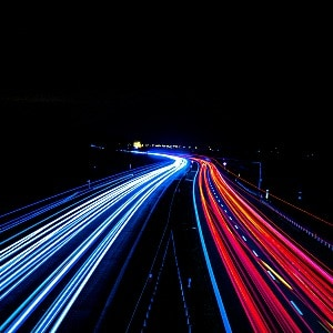 fast moving highway lights