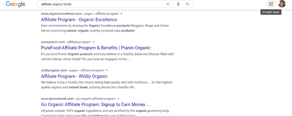 google search organic fooda