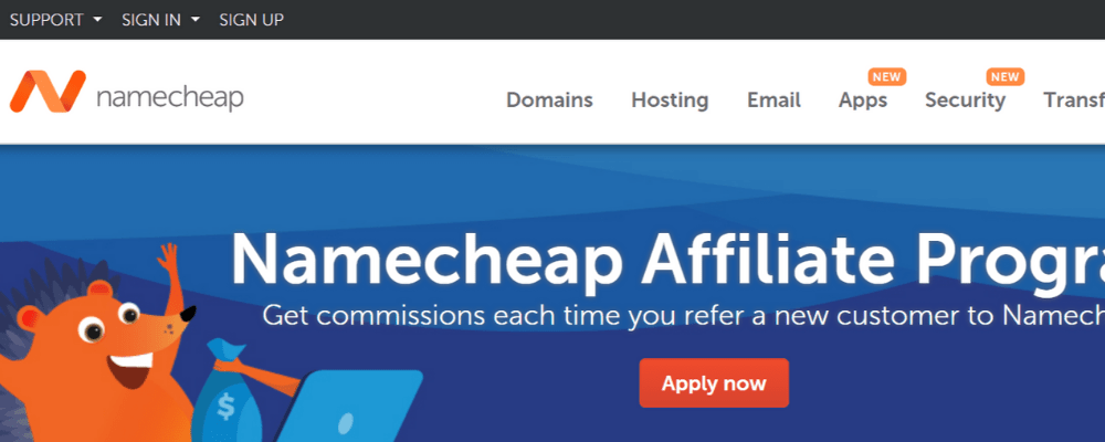 affiliate namecheap page