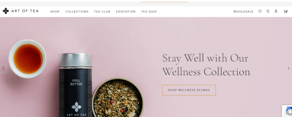 homepage of art of tea