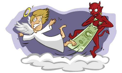 angel and devil fighting over money cartoon
