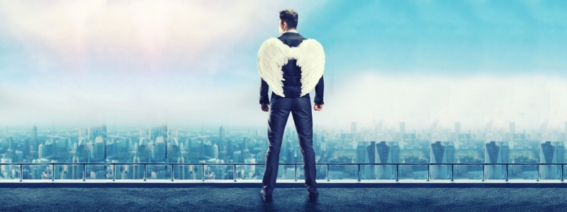 a man with angel wings