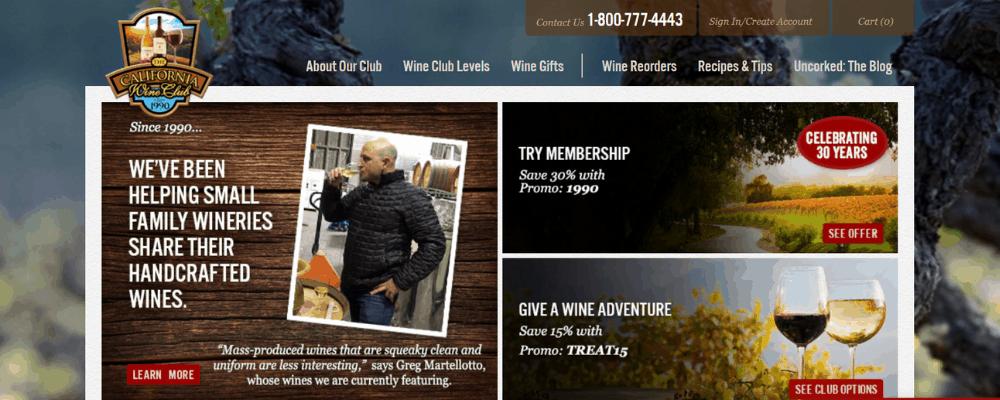 california wine club homepage