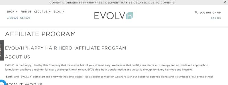 evolvh affiliate program