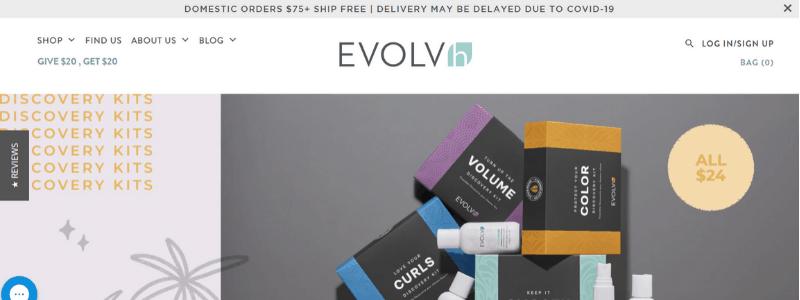 evolvh homepage