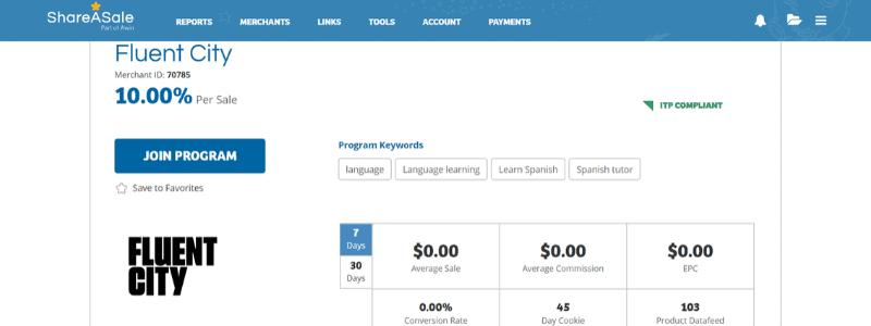 fluent affiliate page
