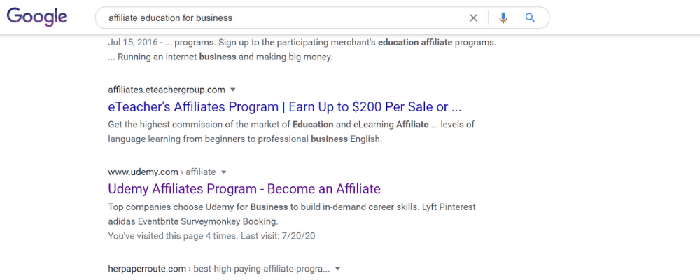 google search for business education affiliate programs