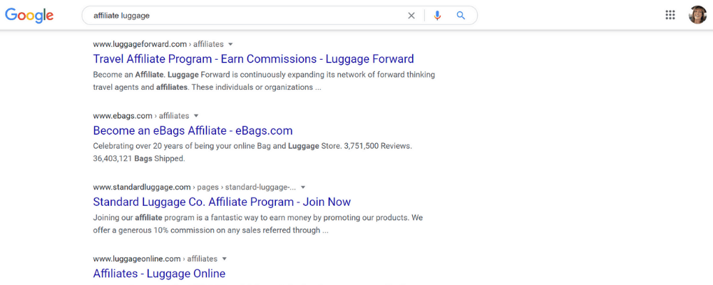 google search page for luggage affiliate programs