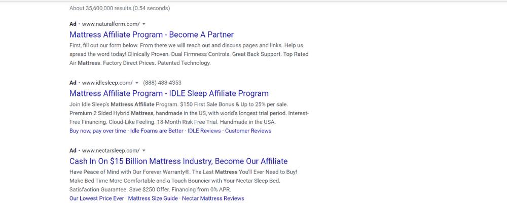 mattress affiliate program search