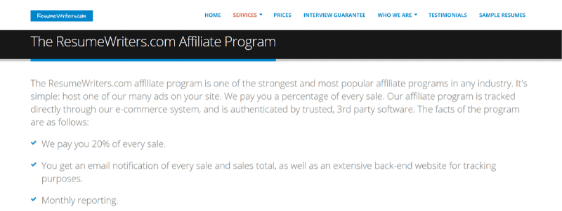 resume writer affiliate program