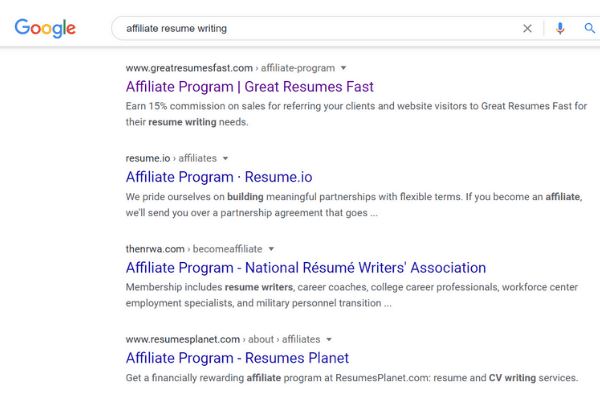 google search affiliate resume writing