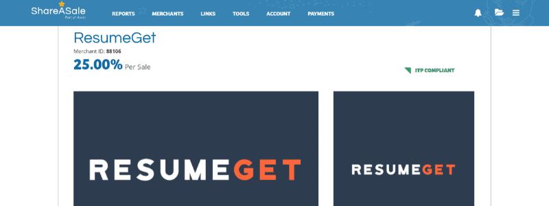 resumeget affiliate page