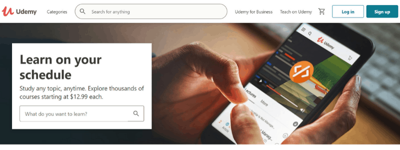 udemy home page