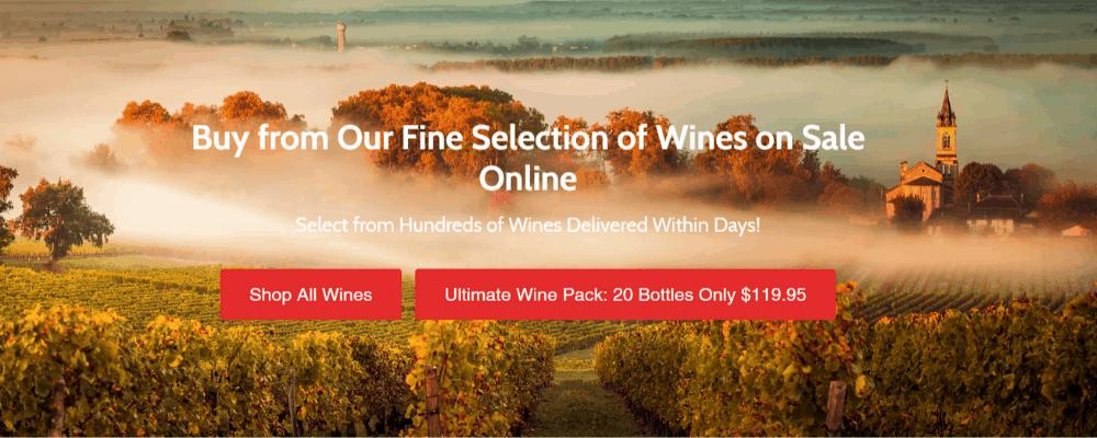 wine on sale homepage