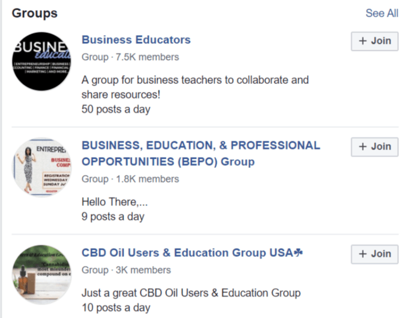 FB groups business education