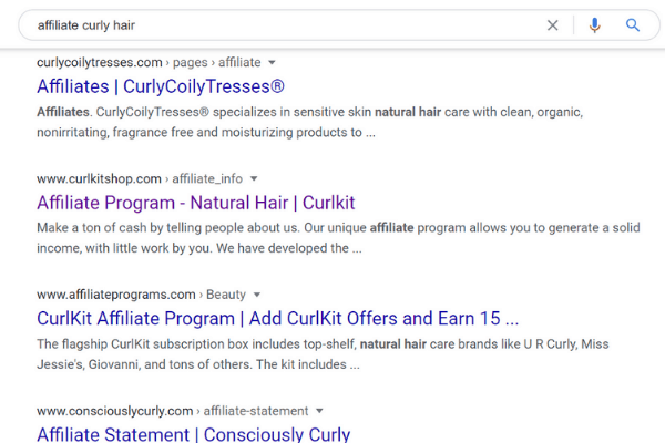 google search for affiliate curly hair