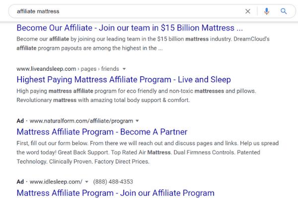 google affiliate mattress