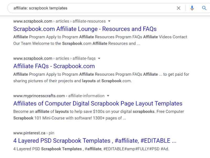 search affiliate scrap templates