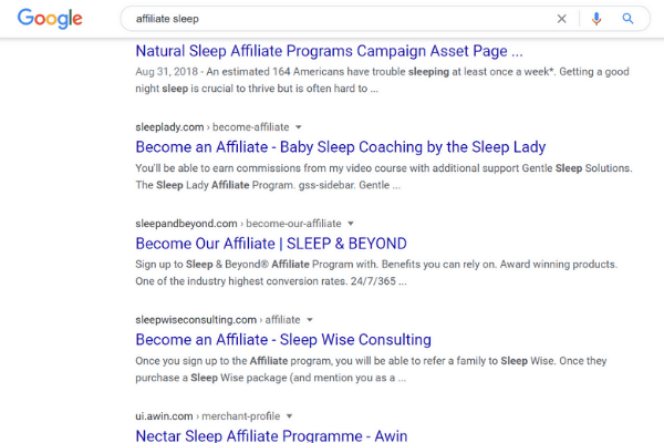 google search affiliate sleep
