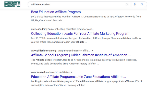 affiliate eduction only search