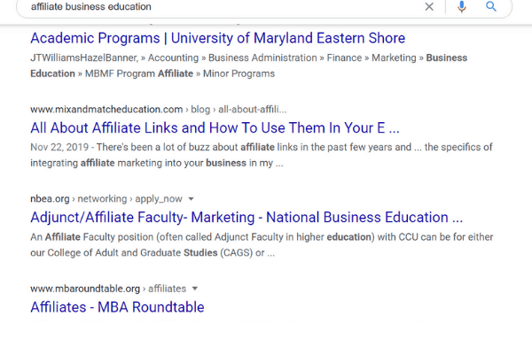 google search for business affiliate