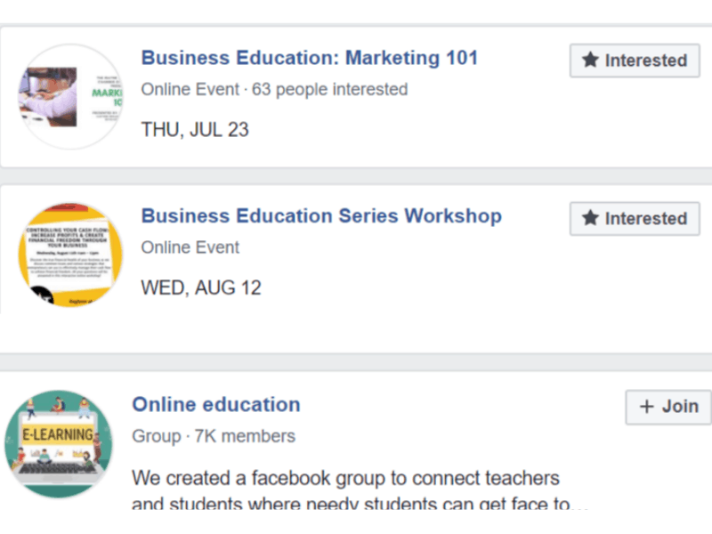 facebood join business education