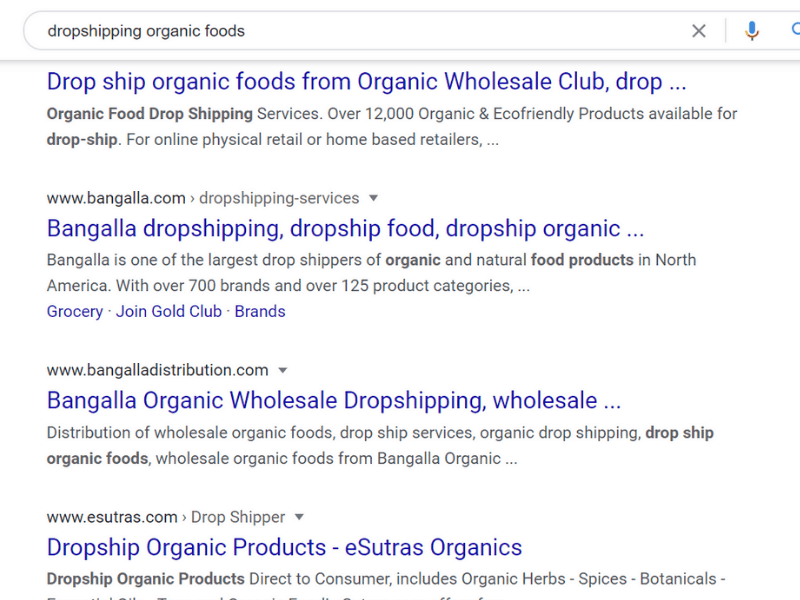 dropshipping organic foods search