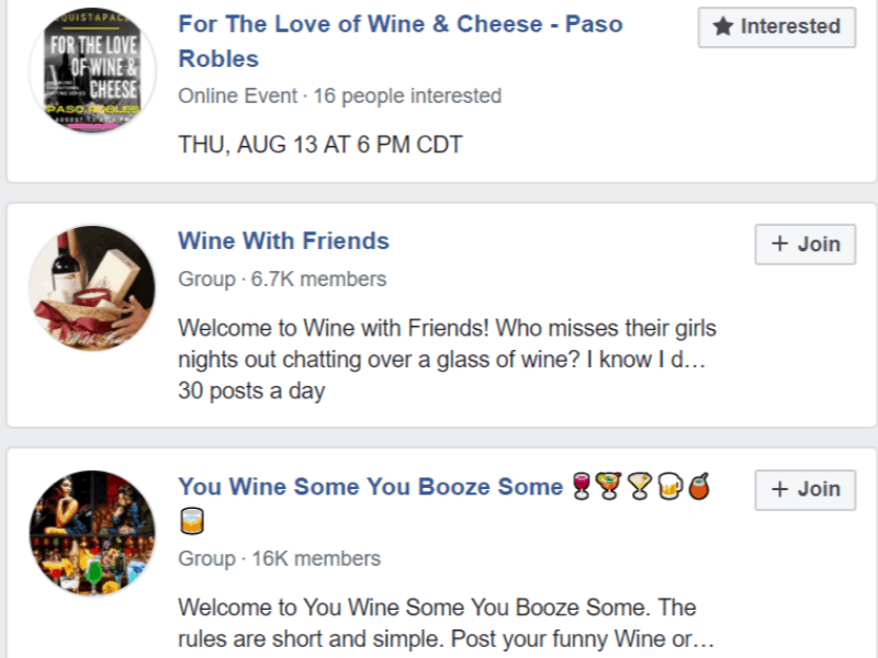 facebook wine communities