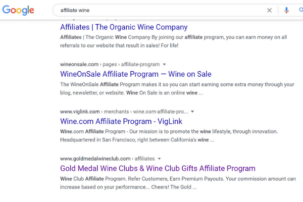 google affiliate wine search