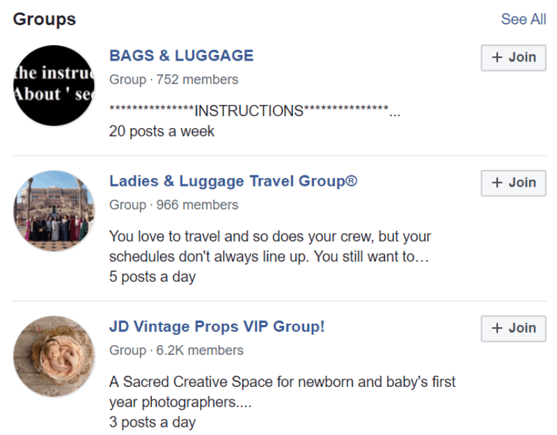facebook groups luggage