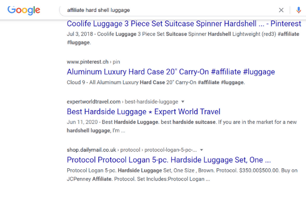 search for hardshell luggage affiliate