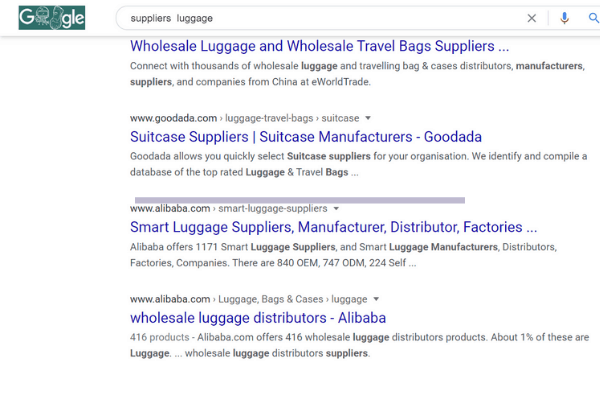 google search luggage supplier