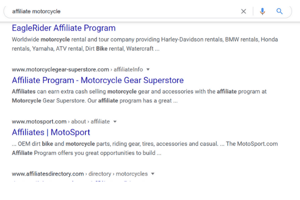 search affiliate motorcycle