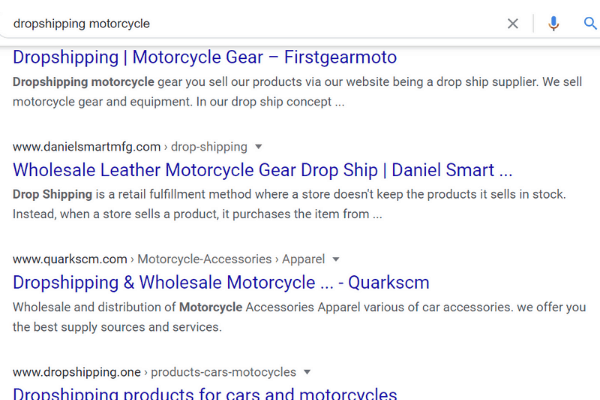 search dropshipping motorcycle