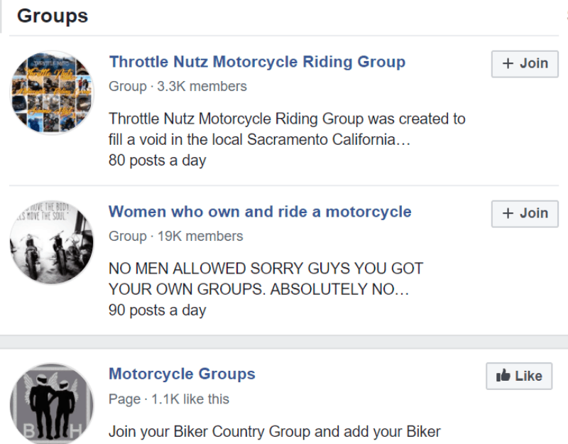 motorcycle FB groups