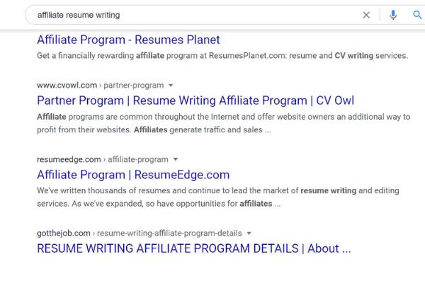 google affiliate resume affiliate