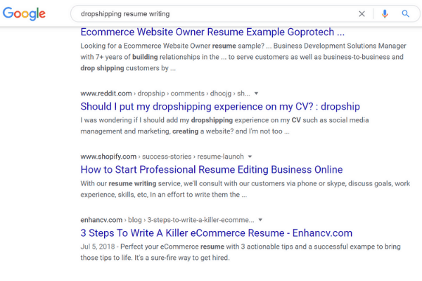 google search resume dropship