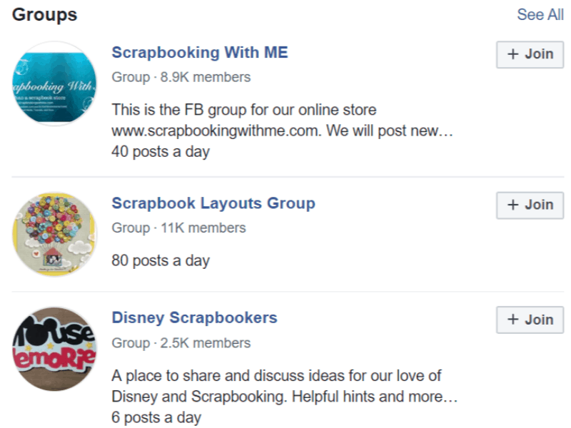 facebook scrapbooking groups search results
