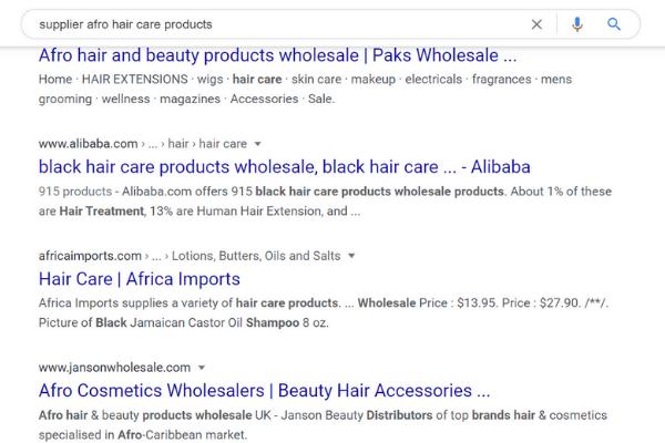 google search supplier hair