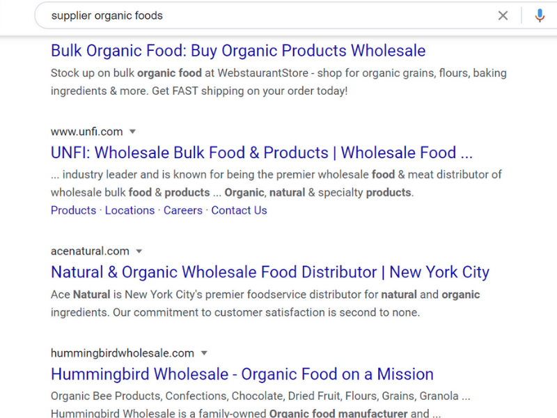 google search for organic foods supplier